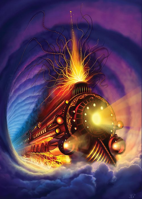 Ghost Train Greeting Card featuring the painting Ghost Train by Philip Straub