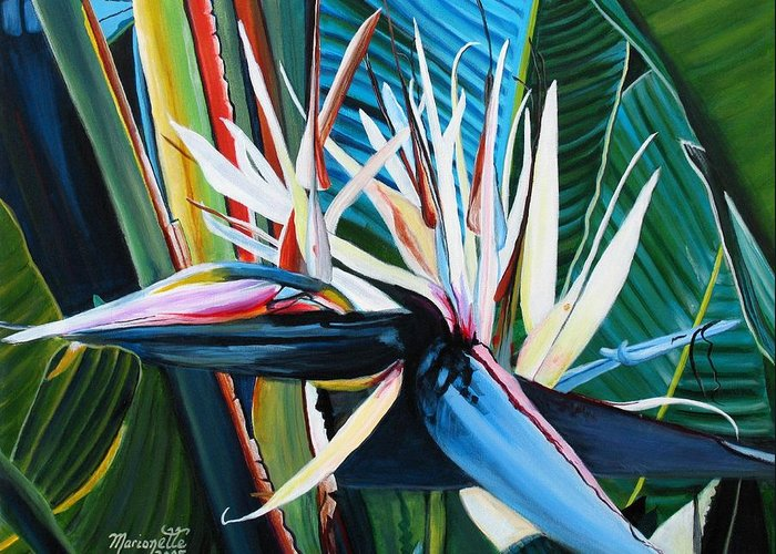 Bird Greeting Card featuring the painting Giant Bird Of Paradise by Marionette Taboniar