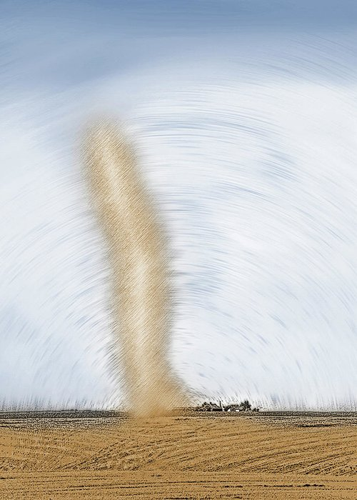Dust Storms Greeting Card featuring the photograph Giant Dust Devil Near Farmhouse 4 - Two-tone by Steve Ohlsen