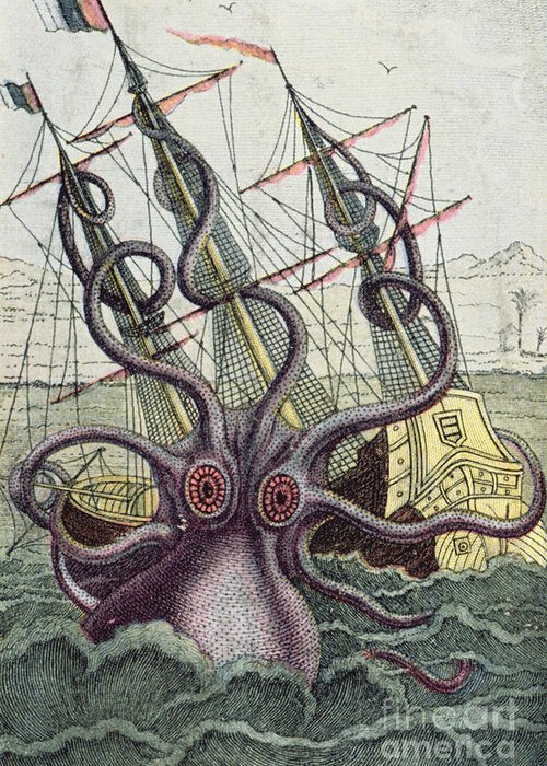 Monster Greeting Card featuring the painting Giant Octopus by Denys Montfort