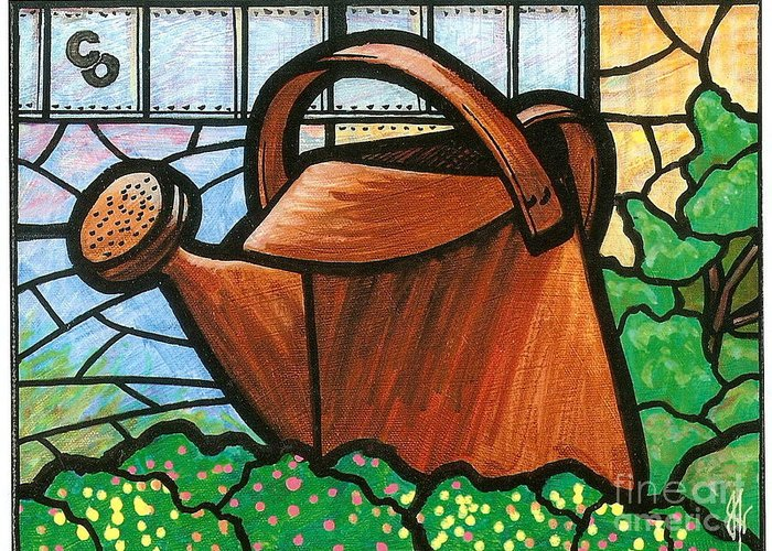 Gardening Greeting Card featuring the painting Giant Watering Can Staunton Landmark by Jim Harris