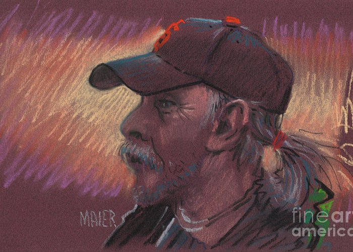 Portrait Greeting Card featuring the drawing Giants Fan by Donald Maier