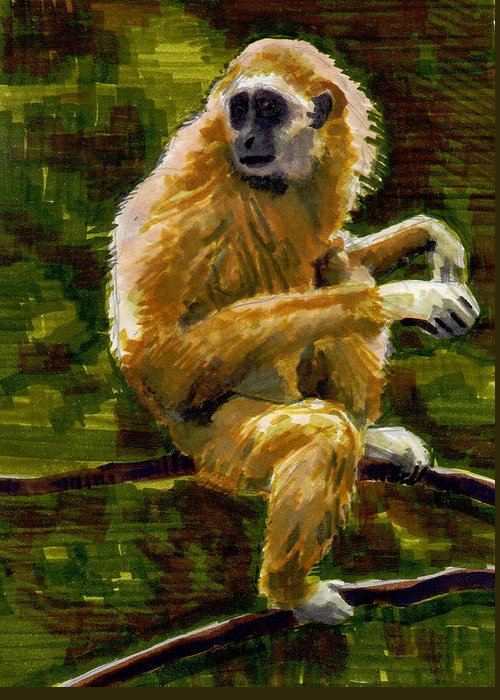 Gibbon Greeting Card featuring the painting Gibbon by Nelson Caramico