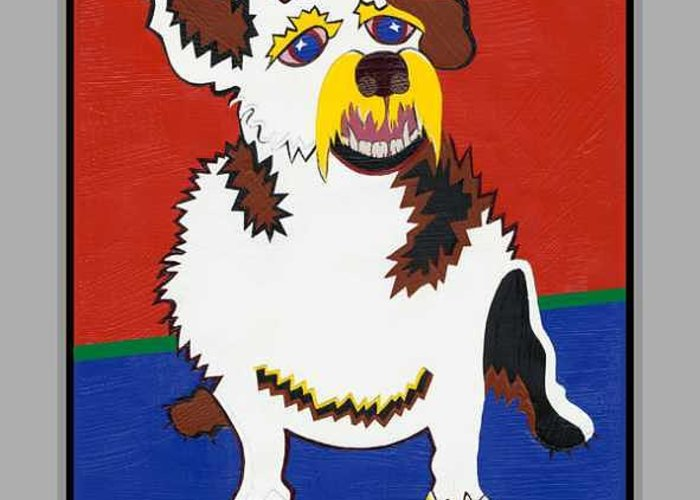 Pop Art Greeting Card featuring the painting Gibby The Mighty Jack by Ruby Persson