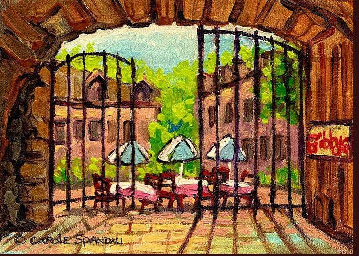 Gibbys Greeting Card featuring the painting Gibbys Restaurant In Old Montreal by Carole Spandau