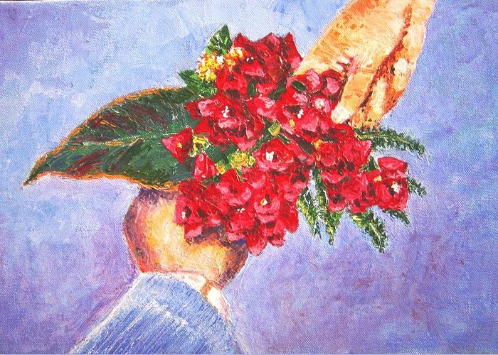 Gift Greeting Card featuring the painting Gift A Bouquet - Bougenvillea by Usha Shantharam