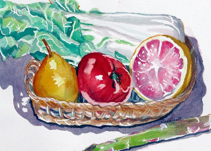 Still Life Greeting Card featuring the painting Gift Basket by Jan Bennicoff