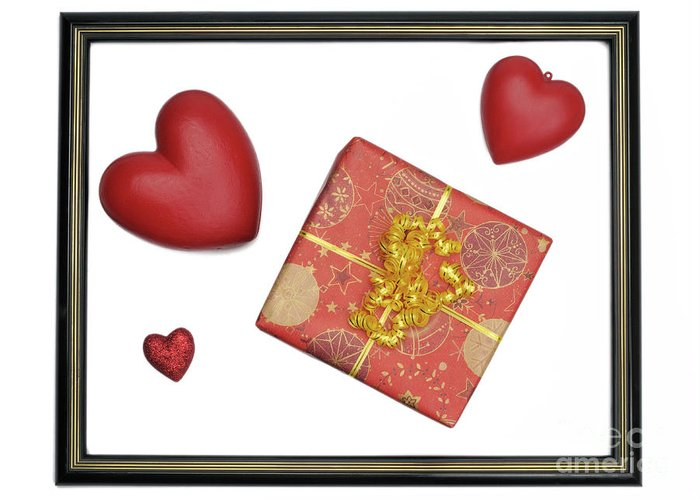 Gift Box And Heart Shaped Objects In Picture Frame Greeting Card For
