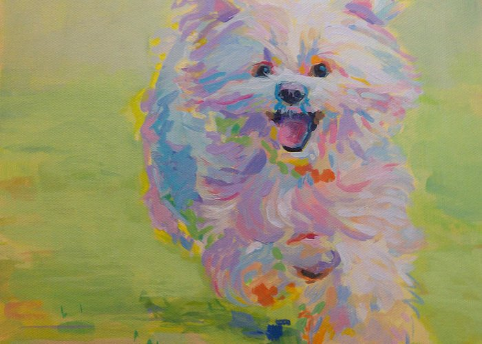 White Dog Greeting Card featuring the painting Gigi by Kimberly Santini