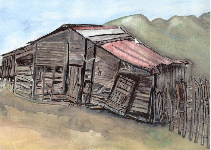 Barn Greeting Card featuring the painting Gila New Mexico Cattle Barn by Margaret Fortunato