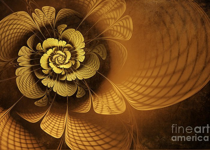 Flower Greeting Card featuring the digital art Gilded Flower by John Edwards