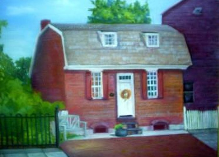 Revell House Greeting Card featuring the painting Gingerbread House by Sheila Mashaw
