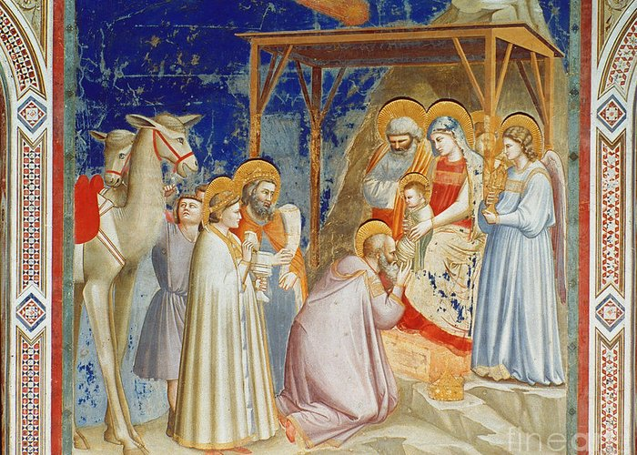 1305 Greeting Card featuring the photograph Giotto: Adoration by Granger