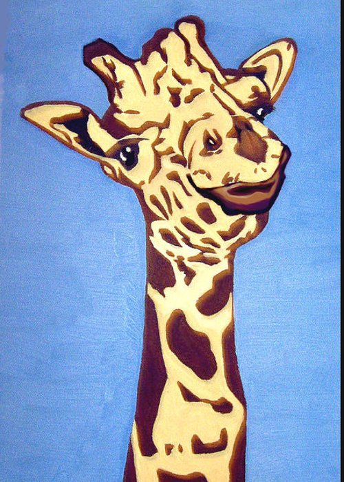 Art Greeting Card featuring the painting Giraffe by Darren Stein
