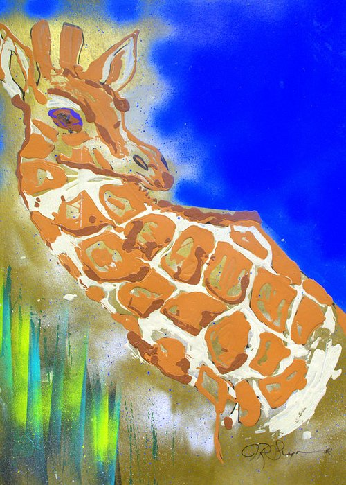 Impressionist Painting Greeting Card featuring the painting Giraffe by J R Seymour