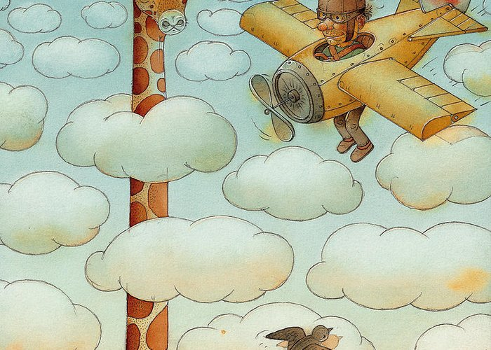 Airplane Sky Flying Giraffe Cloud Pilot Patriotizm Greeting Card featuring the painting Giraffe by Kestutis Kasparavicius