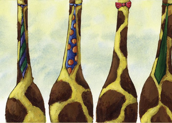 Giraffe Greeting Card featuring the painting Giraffe Neckties by Christy Beckwith