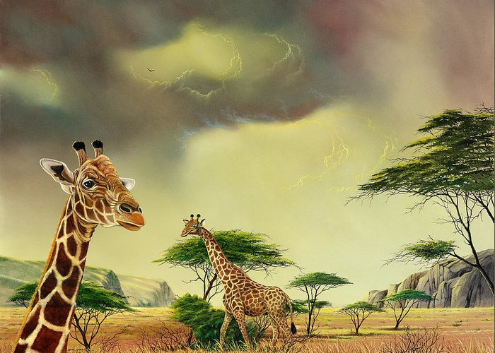 Landscape Greeting Card featuring the painting Giraffes At Thabazimba by Don Griffiths