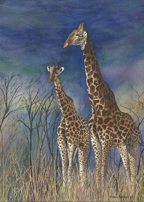 Giraffe Greeting Card featuring the painting Giraffes by Sharon Farber