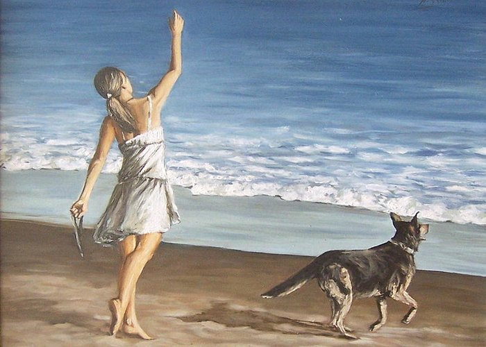 Portrait Girl Beach Dog Seascape Sea Children Figure Figurative Greeting Card featuring the painting Girl And Dog by Natalia Tejera