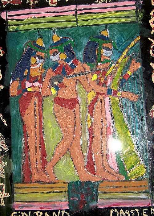 Egyptian Girl Band Greeting Card featuring the glass art Girl Band by Maggie Cruser
