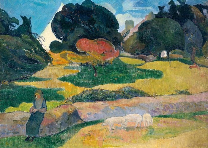 Girl Greeting Card featuring the painting Girl Herding Pigs by Paul Gauguin