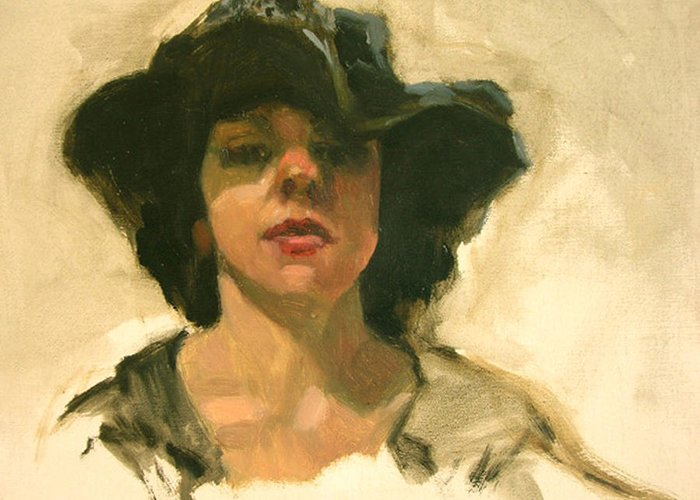 Portrait Greeting Card featuring the painting Girl In A Floppy Hat by Merle Keller