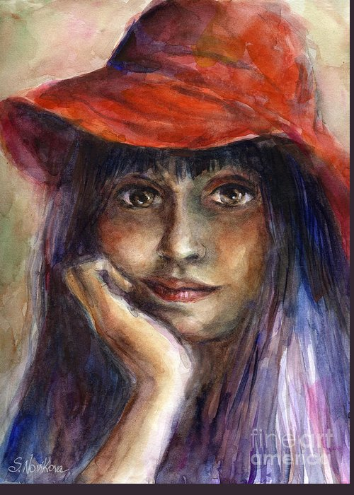 Watercolor Portrait Greeting Card featuring the painting Girl In A Red Hat Portrait by Svetlana Novikova