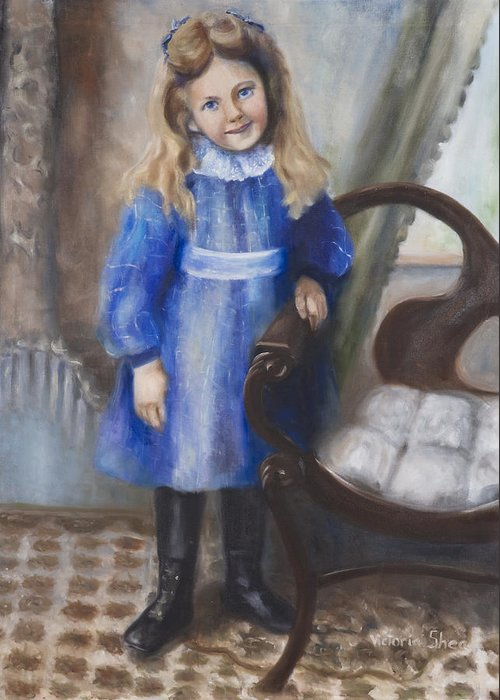 Portrait Greeting Card featuring the painting Girl In Blue by Victoria Shea
