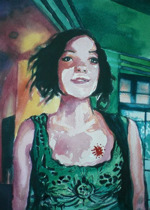 Greeting Card featuring the painting Girl In Green by Aleksandra Buha