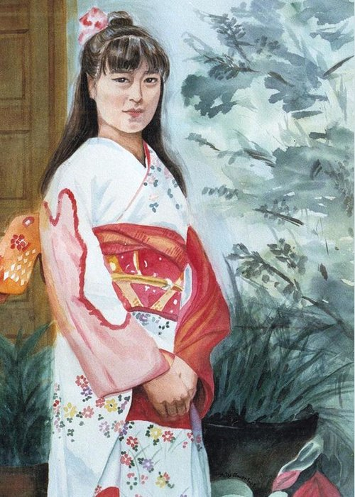 Japanese Girl In Kimono Greeting Card featuring the painting Girl In Kimono by Judy Swerlick
