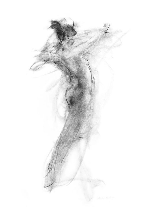 Nude Greeting Card featuring the drawing Girl In Movement by Christopher Williams