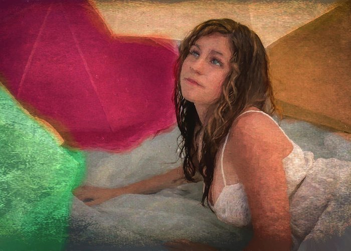 Girl Greeting Card featuring the painting Girl In The Pool 4 by Mike Penney