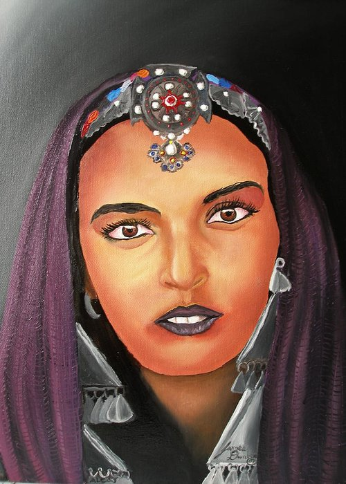 This One Is An Original Work Of Art! It Would Be A Great Buy For The Morocco Lover!!!!!! Greeting Card featuring the painting Girl Of Morocco by Portland Art Creations