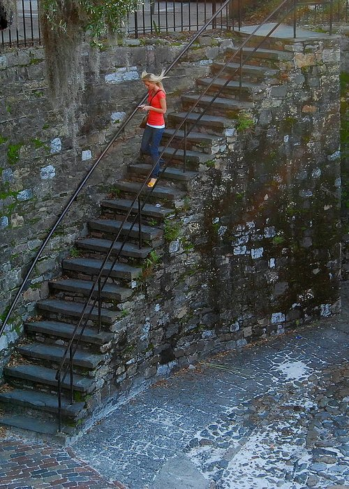 Savannah Greeting Card featuring the photograph Girl On Stairs by Mark Whatley