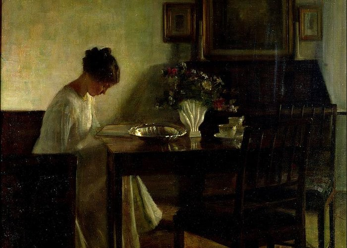 Girl Greeting Card featuring the painting Girl Reading In An Interior by Carl Holsoe