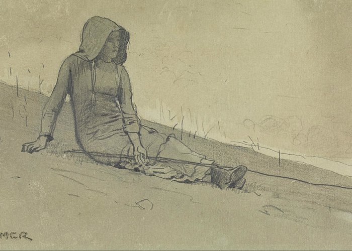 Winslow Homer Greeting Card featuring the drawing Girl Seated On A Hillside by Winslow Homer