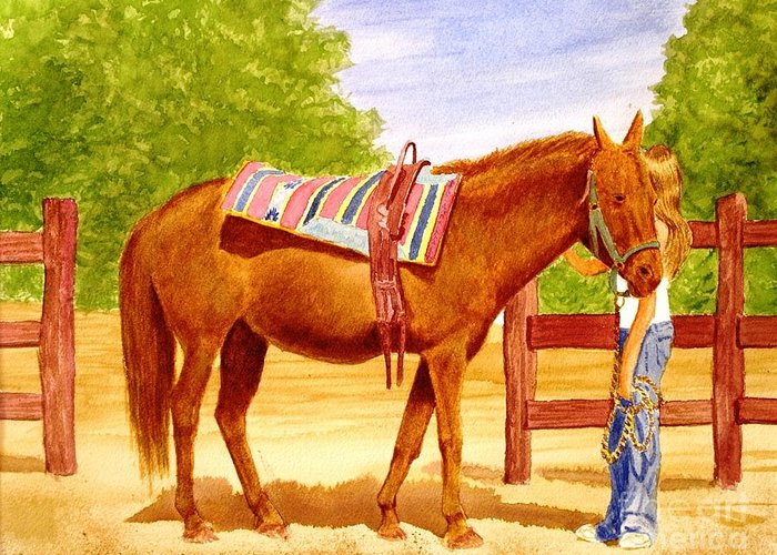 Equine Greeting Card featuring the painting Girl Talk by Stacy C Bottoms