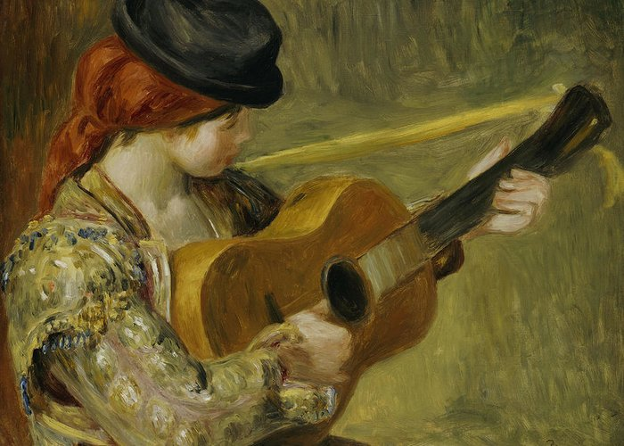 Impressionist; Impressionism; Portrait; Female; Music; Musician Greeting Card featuring the painting Girl With A Guitar by Pierre Auguste Renoir