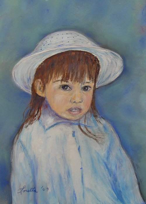 Girl Greeting Card featuring the painting Girl With A Hat by Loretta Luglio