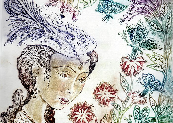 Drypoint Greeting Card featuring the drawing Girl With Butterflies by Milen Litchkov