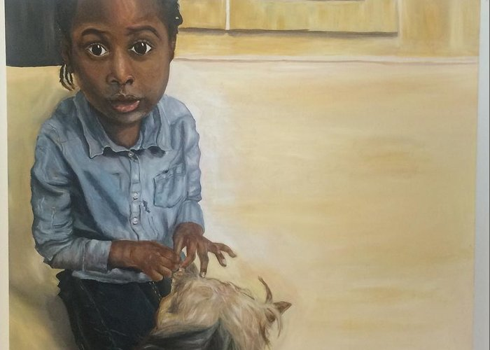 Portrait Greeting Card featuring the painting Girl With Dog by Kareem Marsh-henry