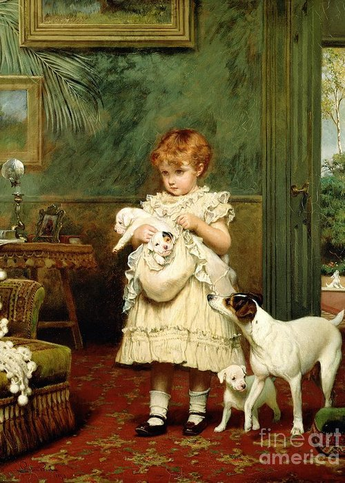 Girl With Dogs Greeting Card featuring the painting Girl With Dogs by Charles Burton Barber