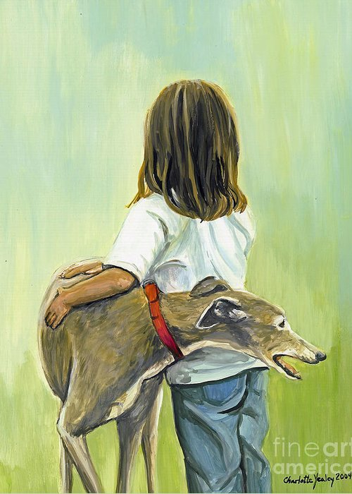 Greyhound Greeting Card featuring the painting Girl With Greyhound by Charlotte Yealey