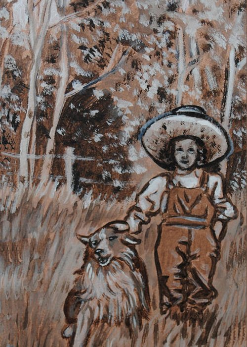 Historical Greeting Card featuring the painting Girl With Hat And Dog Historical Vignette by Dawn Senior-Trask
