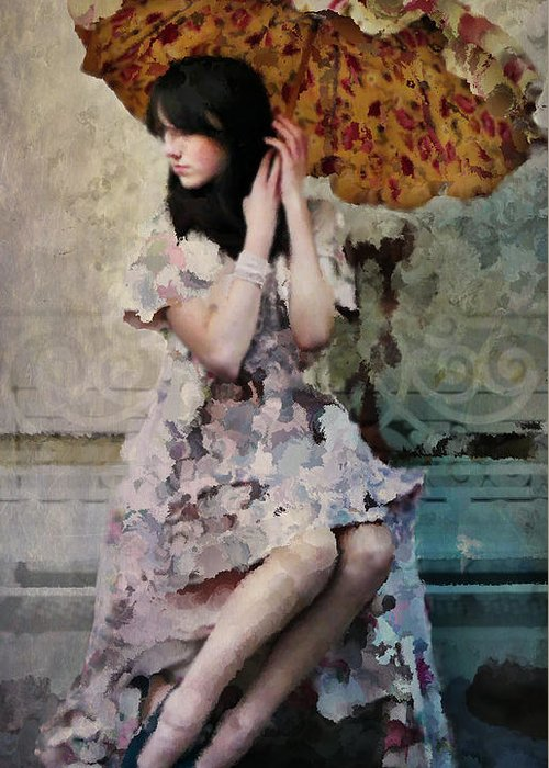 Portrait Greeting Card featuring the photograph Girl With Parasol by Elena Nosyreva