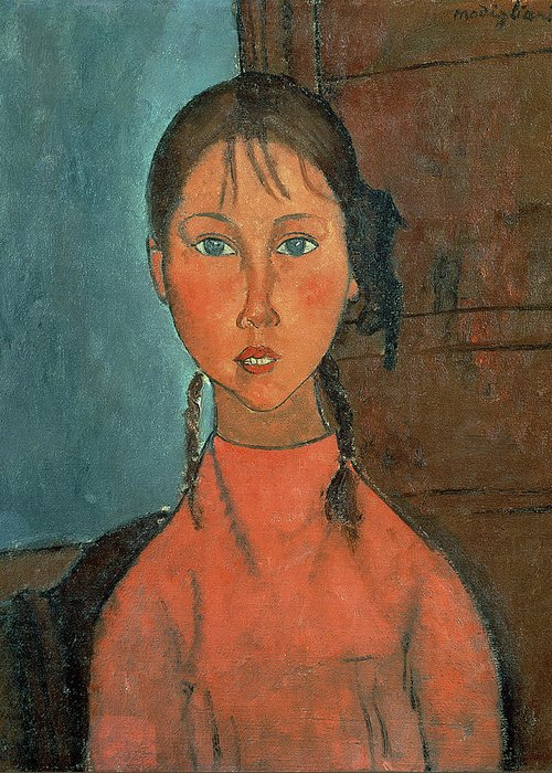 Girl With Pigtails Greeting Card featuring the painting Girl With Pigtails by Amedeo Modigliani