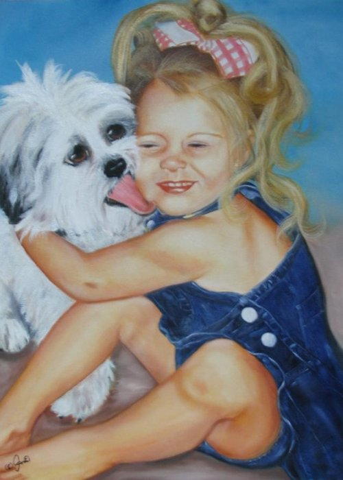 Child Greeting Card featuring the painting Girl With Puppy by Joni McPherson