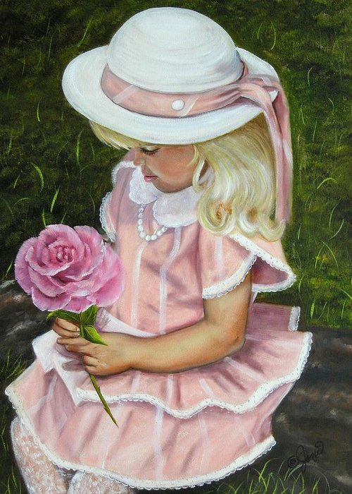 Girl Greeting Card featuring the painting Girl With Rose by Joni McPherson