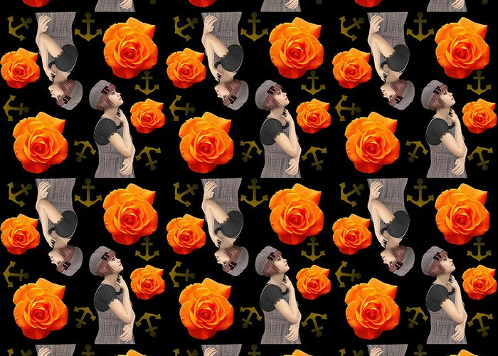 Girl Greeting Card featuring the photograph Girl With Roses And Anchors Black by Alejandra Ortega